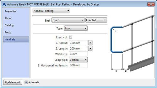 GRAITEC Shop | Railing Designer(Includes: Ball Posts) for Advance Steel